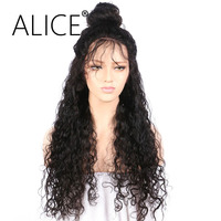 ALICE 180 Density Lace Front Human Hair Wigs 8 24 Inches Natural Black Deep Wave Human