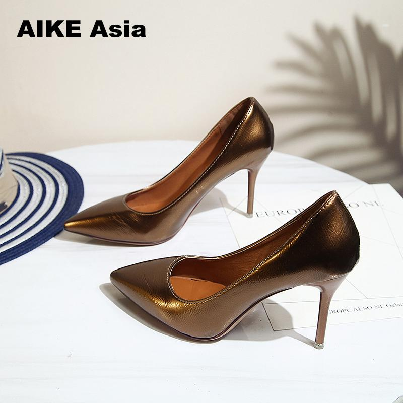 Aike Asia 2018 NEW ARRIVE Women Shoes Blue Snake Printed Sexy Stilettos High Heels 8cm Pointed Toe Women Pumps kiind of new blue women s xl geometric printed sheer cropped blouse $49 016