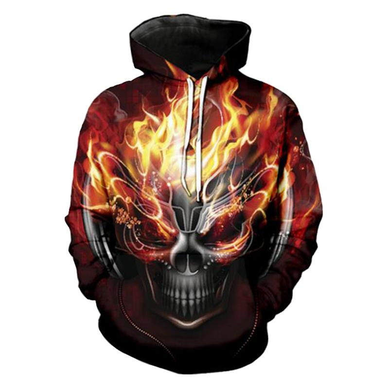 Jerwill Fire Alloy Skull Hoodie Sweatshirts Men 2019 New Fashion Autumn Winter Regular O-neck Pullovers Hat Sweats Unisex