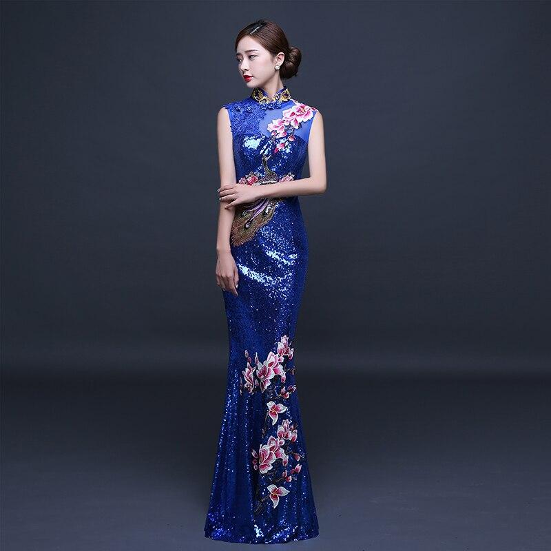 Элегантные женские Павлин, цветок Qipao винтажные аппликации блёстками китайский женский халат со стоячим воротником, с цветочным принтом китайская Невеста Свадебное банкетное платье