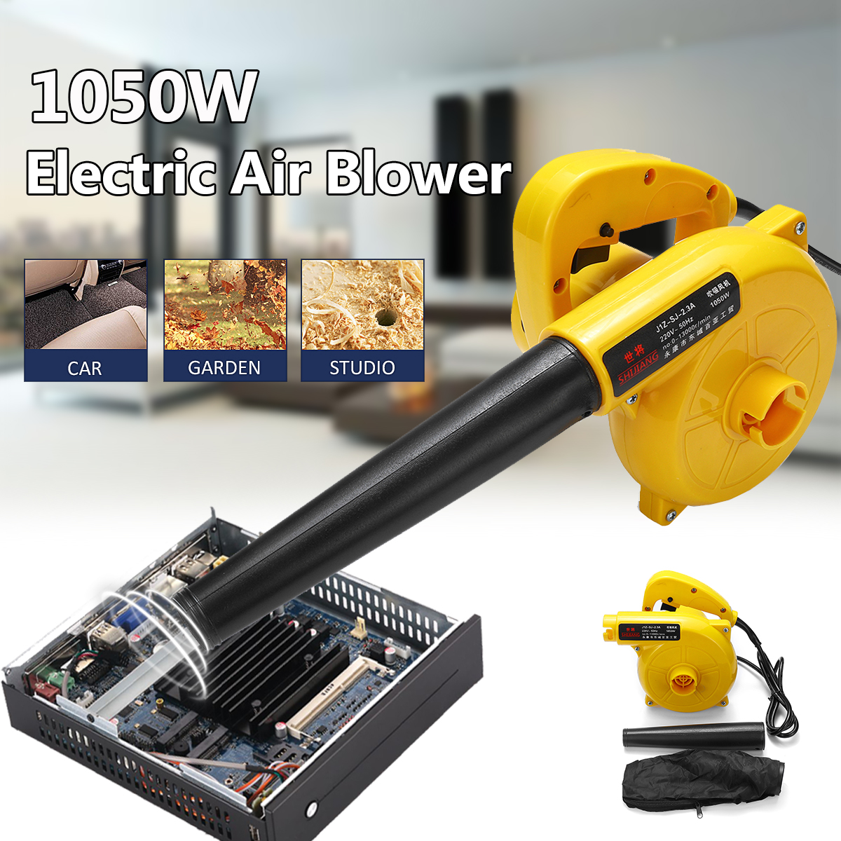 1050W Portable Electric Air Blower Handheld Dust Collector Fan Spray Vacuum Cleaner Car Garden Studio Leaf Blowing Remover
