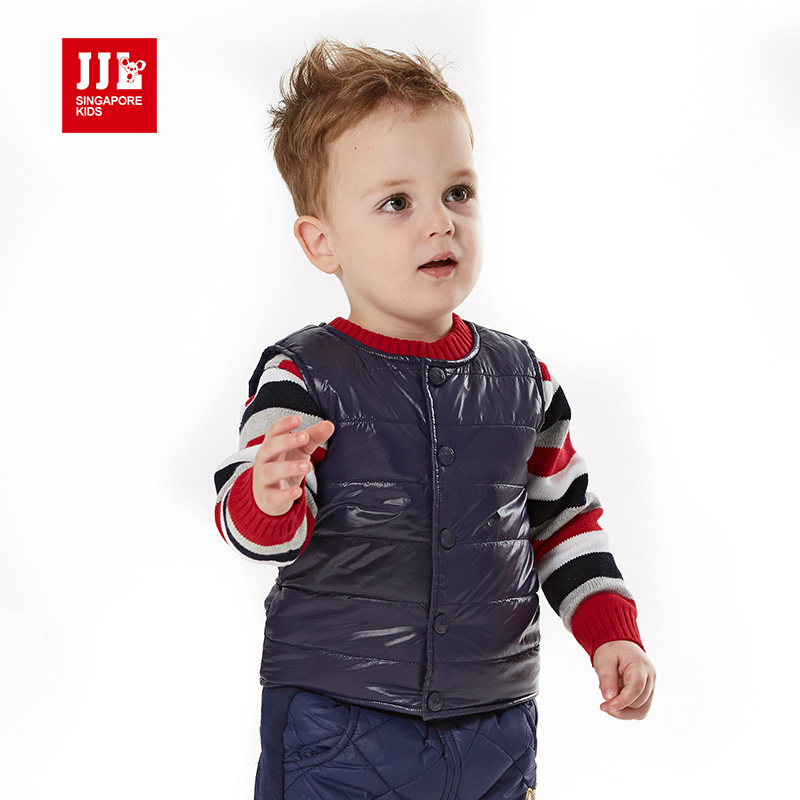 2015 winter vest for baby boys cotton padded vest waistcoat children winter outerwear soild color baby