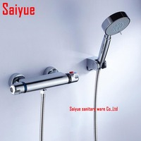 Wall Mounted Two Handle Thermostatic Shower mixer Thermostatic faucet Shower Taps Chrome Finish with ABS plastic hand shower