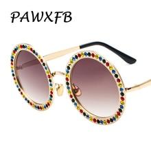 Pop Age 2018 New Ladies Coloured Diamond Round Sunglasses Oversized Sunglasses For Women Luxury Brand Designer Eyeglasses Shades