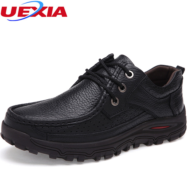 UEXIA New Comfortable Breathable Men Shoes Flats Lace-up Solid Split Leather Causal Shoes Business Slip On Loafers Formal Oxford