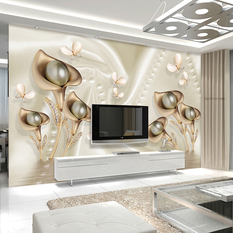 High Quality 3D Calla Butterfly Water Reflection Silk Wallpaper Hotel Villa Living Room TV Sofa Backdrop Mural Luxury Wall Paper