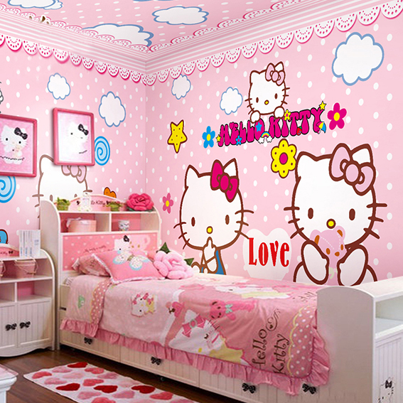 Bedroom Ideas Hello Kitty Soft Bedroom Colors Childrens Turquoise Bedroom Accessories Bedroom Decorating Ideas Gray And Purple: 2015 New Children's Bedroom Hello Kitty Fashion Wallpaper