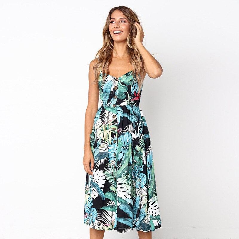 Винтажное армейское зеленое летнее женское платье 2019 Бохо стильное сексуальное платье миди на пуговицах с открытой спиной Полосатое цветочное пляжное платье женское