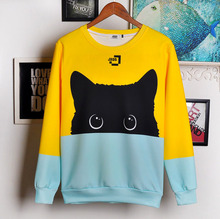 Casual Sweatshirt Cute Cat Hoodies Full Lovely Black Hoody Animal Autumn Winter Pullover Sweatshirts Womens Funny Dropship