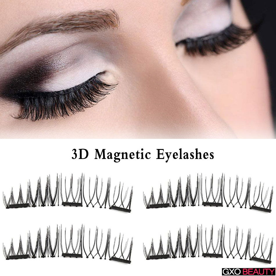 GXO BEAUTY 4pcs New Easy Wear 3D Magnetic Eyelash False Eyelash Soft Hair Reusable Thin Natural False Eyelashes-T1