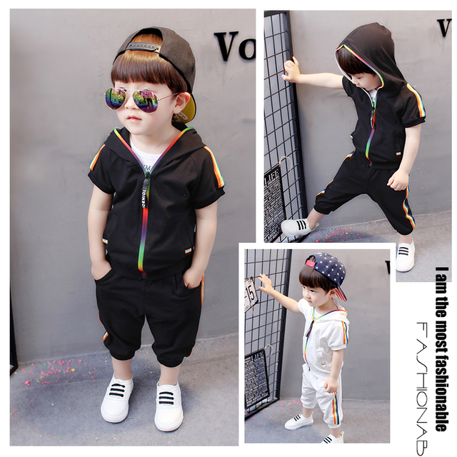 2-Piece Fashion Trendy Short Sleeve Hoodie with Pants for Baby Toddler Kids Boy