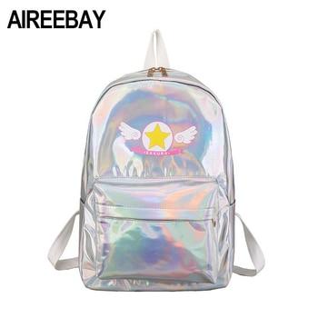 AIREEBAY Holographic Sakura Lolita Bags Female Kawaii Mini Laser Backpack School Bags For Teenager Girls Harajuku Hologram Bags