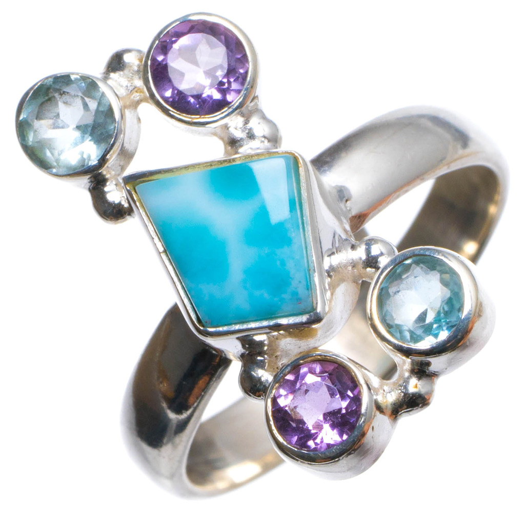 Natural Caribbean Larimar,Blu Topaz Amethyst Handmade Unique 925 Sterling Silver Ring, US size 7.5 X2382