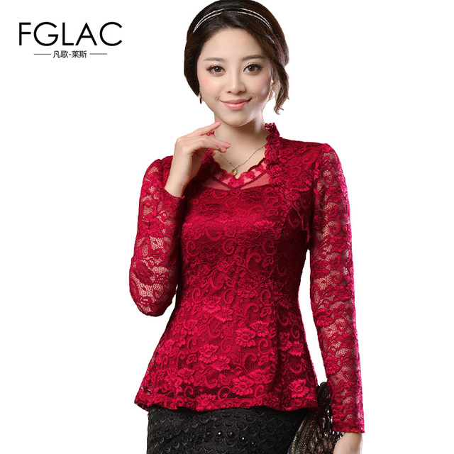 09a139a5003d7 FGLAC 2019 Spring Woman lace shirt Hollow out Fashion Casual long sleeve  blouse Shirt female Plus size Floral lace Tops