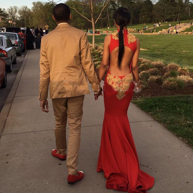 Long-Red-Mermaid-Prom-Dresses-with-Gold-Appliques-Sexy-High-Neck-Cap-Sleeve-Court-Train-Party (1)