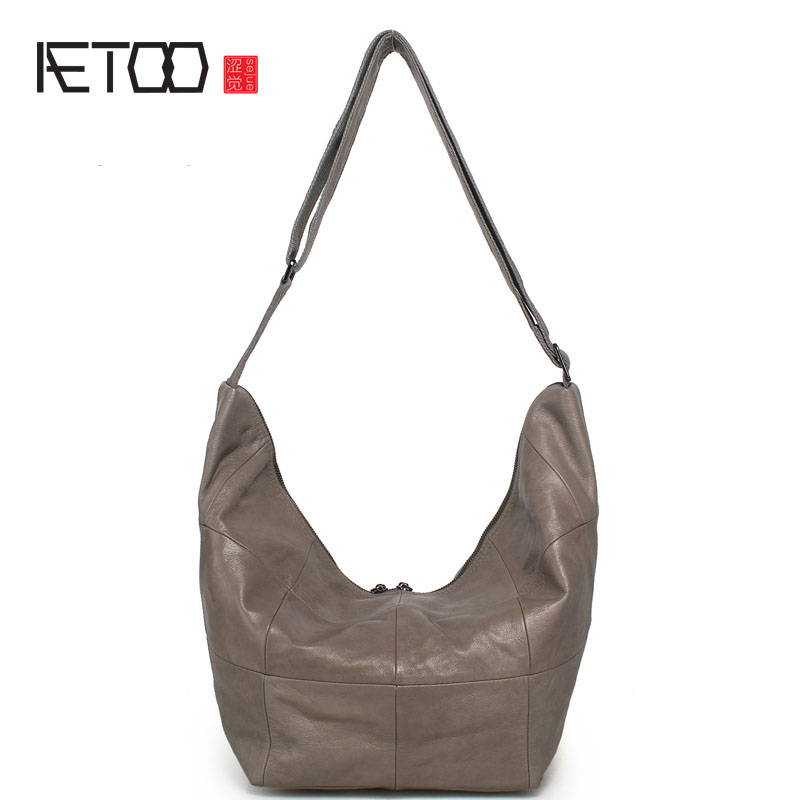 AETOO Big bag head layer of leather Messenger bag Europe and the United States simple leather large size shoulder bag handbags new europe and the united states fashion oil wax head layer of leather portable retro shoulder bag heart shaped color embossed h