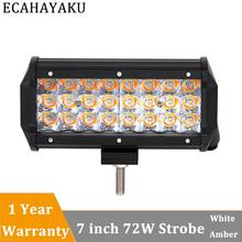 ECAHAYAKU 7Inch 72W Amber Led Light Bar Spot Beam OffRoad Driving with Turn Signal for SUV ATV 4WD Truck Car Styling
