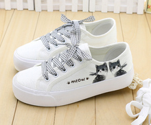 Youth Lovely Harajuku White Sneakers Women Summer Hand-Painted Canvas Shoes Fashion Meng Cat Pattern Casual Shoes Zapatos Mujer