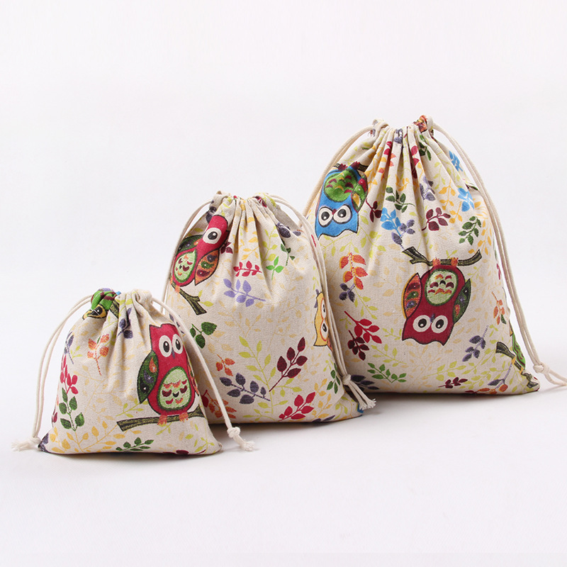 Cotton Linen Drawstring Bag Cartoon Cute Owl Mini Coin Purse Home Storage Travel Women Small Cloth Bag Christmas Gift Pouch
