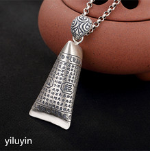 KJJEAXCMY S990 silver coin hollowed out, silk gourd, pure silver, folk style, antique style, lady pendant. antique silver coin tassel anklet 1pc