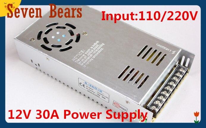 12V 30A 360W switching power supply adapter led strip light transformer 12v free shipping via china post