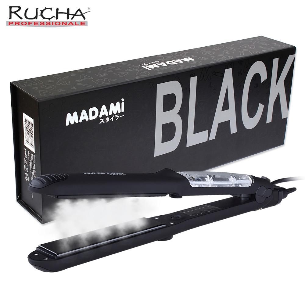 RUCHA Official Store Professional Argan Oil Vapor Salon Steam Hair Straightener Flat Iron 450F Ceramic Hair Electric Straightening Irons