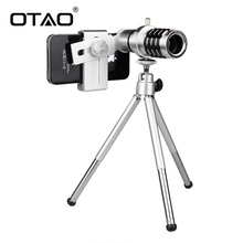 Sale OTAO 12X Zoom Mobile Phone Telescope Universal Mobile Telephoto Camera Lens Clip Portable For iPhone For Xiaomi For Samsung