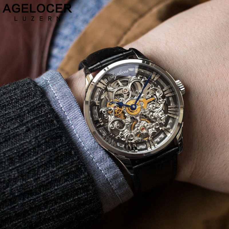 AGELOCER New Number Sport Design Swiss Watch Mens Watches Top Brand Luxury Montre Homme Clock Men Automatic Skeleton Watch цена и фото