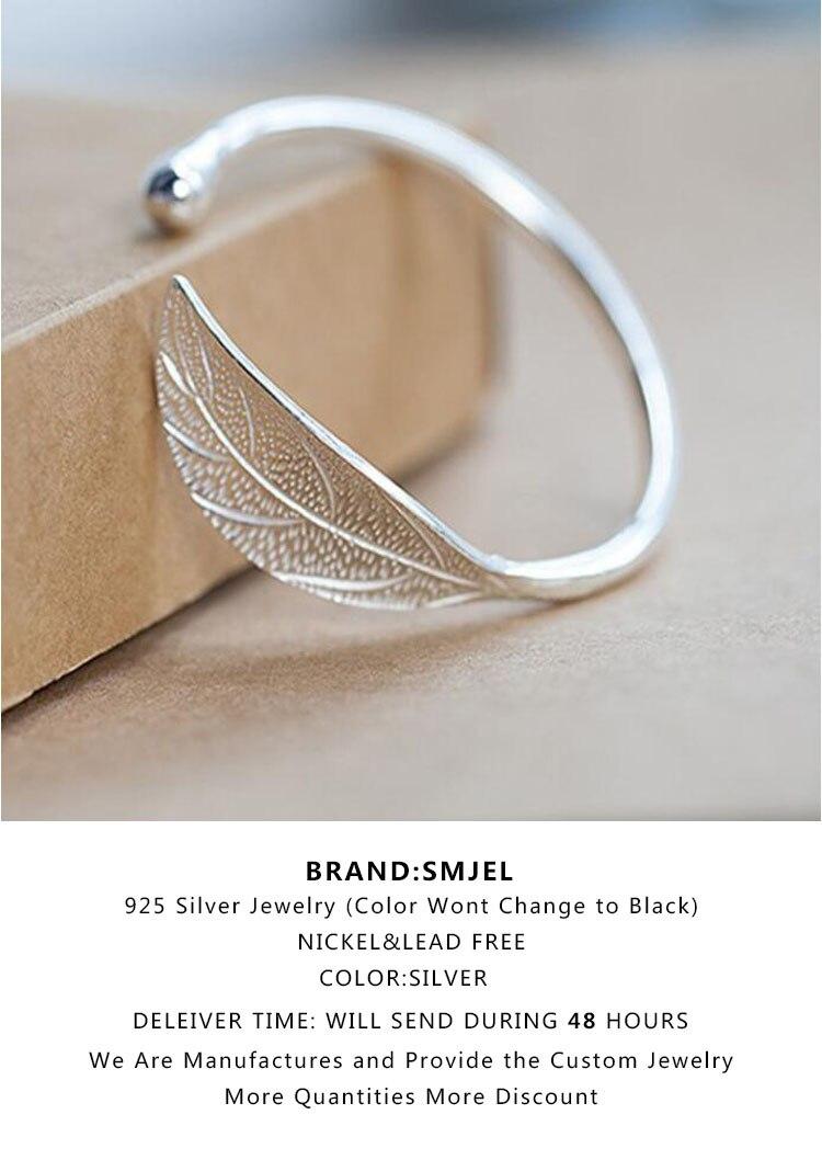 SMJEL Fashion Trendy Open Leaf Cuff Bracelet Bangles for Women Simple Plant Bracelet Femme Boho Jewelry Birthday Gift SYSZ014 3