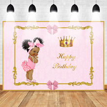 Neoback Happy Birthday Photo Backdrop for Princess Pink Style Royal Gold Crown Bow Customized Photographic Background Studio
