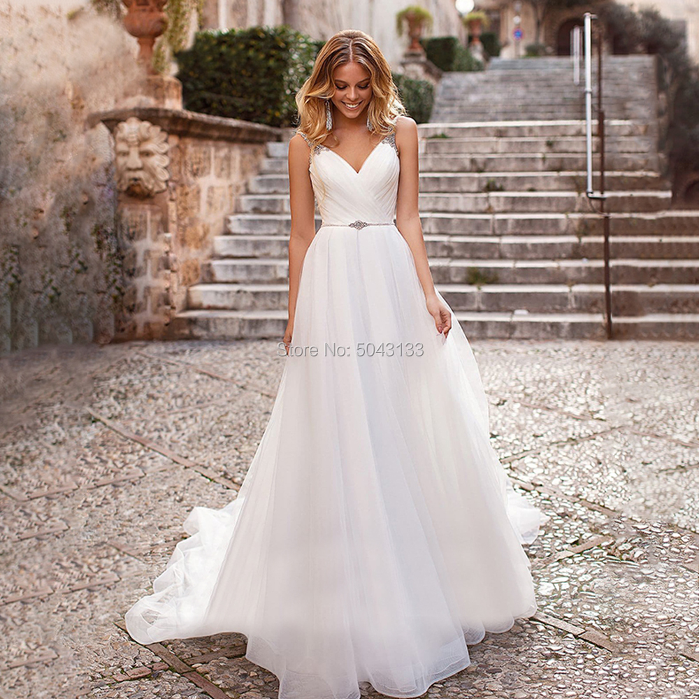 Elegant Tulle Wedding Dresses Beaded Straps A Line Pleated Bridal Gowns Sexy Backless Chapel Train Wedding Formal Dress New