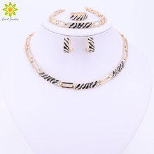 New Jewelry Sets Enamel Necklace Ring Bracelet Earrings Wedding Gold Color For Women Crystal Maxi Dress Accessories