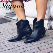 SKYYUE New Genuine Leather Metal Deco Women Ankle Boots Sexy pointed Toe SliP On Cowboy Women Boots Shoes Women