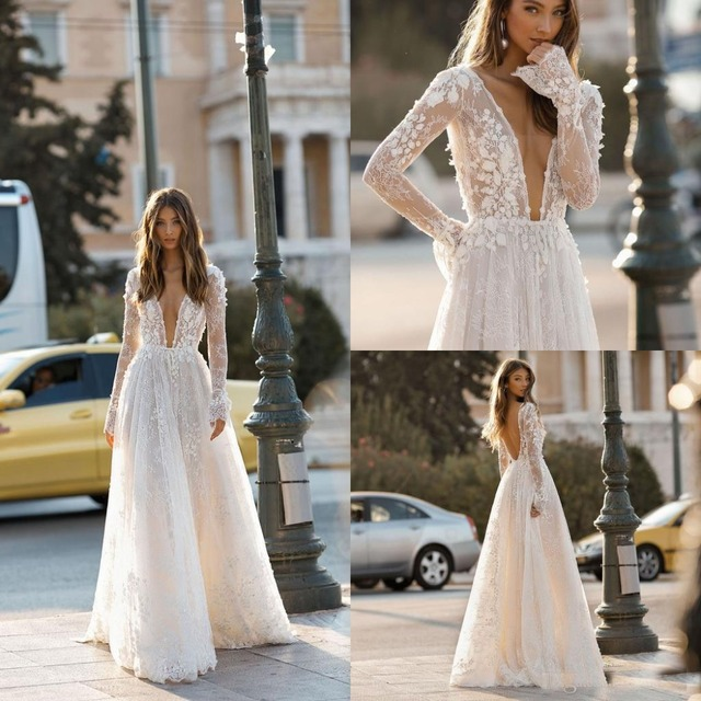 c360e406da1 Berta 2019 Modest Long Sleeve Wedding Dresses Lace 3D Floral Flowers Plunge  V Neck Backless Sexy