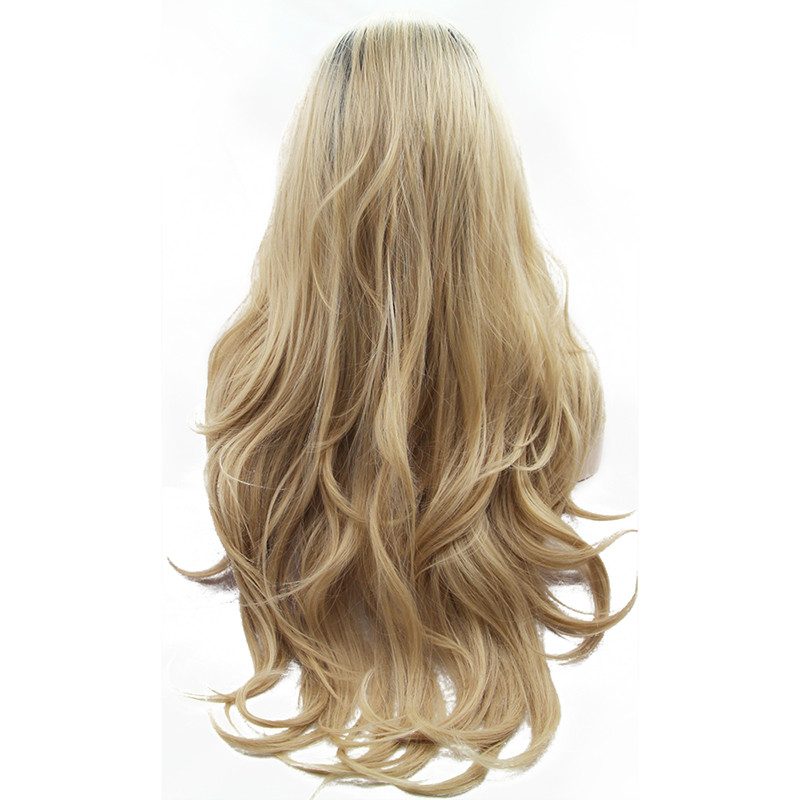 Sylvia Natural Wave Blonde Synthetic Dark Roots Heat Resistant for Women