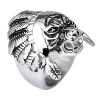 Wholesale Cheap Domineering Tiger Head Ring 316L Stainless Steel Unique Animal Rings For Men Punk Style Biker Jewelry