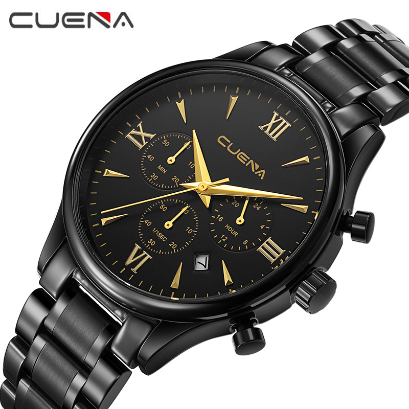CUENA Men Luxury Quartz Watch Man Fashion Stainless Steel Chronograph Date Wristwatches Waterproof Relogio Masculino 6802G skmei men s sport watches fashion chronograph quartz watch luxury stainless steel waterproof men wristwatches relogio masculino