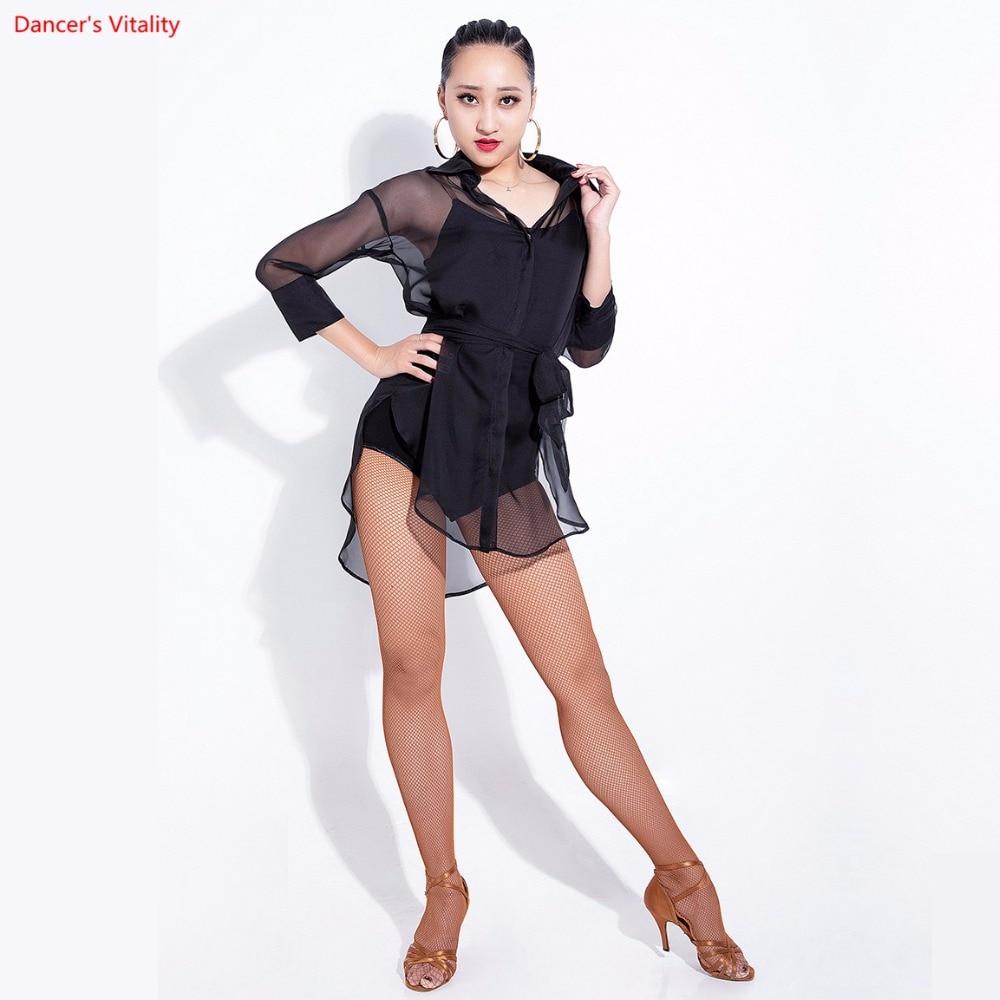 New Latin Dance Tops For Women/Adult Perspective Chiffon Shirt Latin Salsa Standard Ballroom Dance Stage Practice Costumes