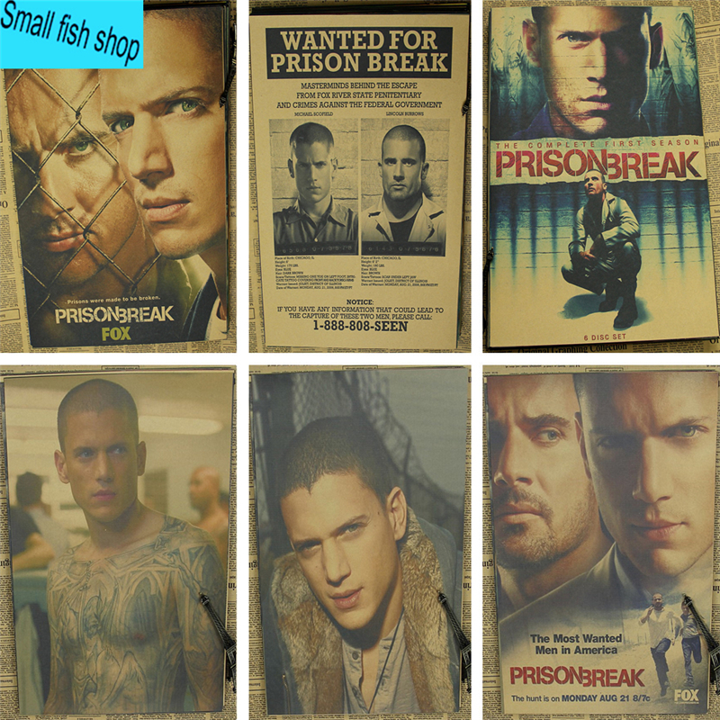 Prison Break Wentworth Miller American TV Series Home Furnishing decoration Kraft Movie Poster Drawing core Wall stickers