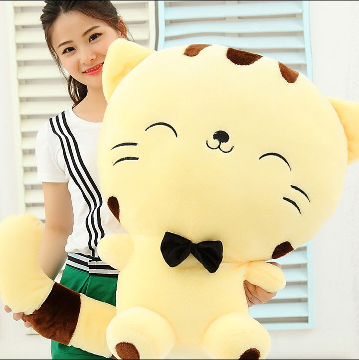 "ФОТО 18"" 45cm include tail cute large face cat plush stuffed toys pillow birthday gift cushion fortune cat doll  hot sale"