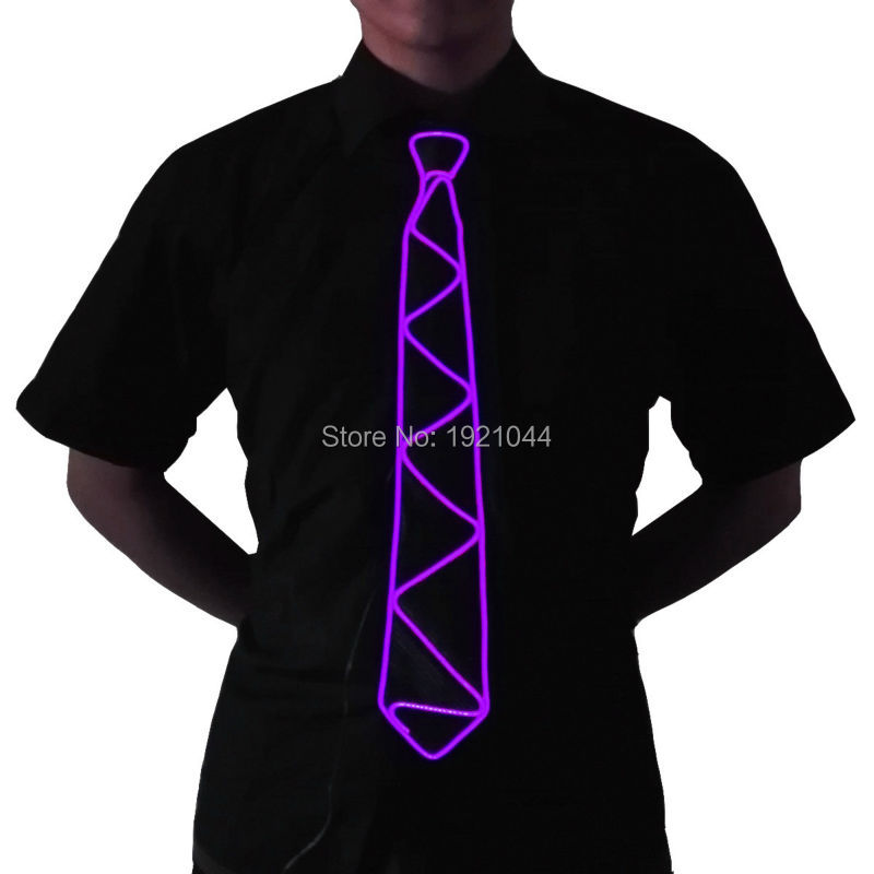 2017 Fashion Flashing EL Wire Necktie Glowing DJ Dance Tie for Bar Blub with DC-3V Sound activated Driver ...