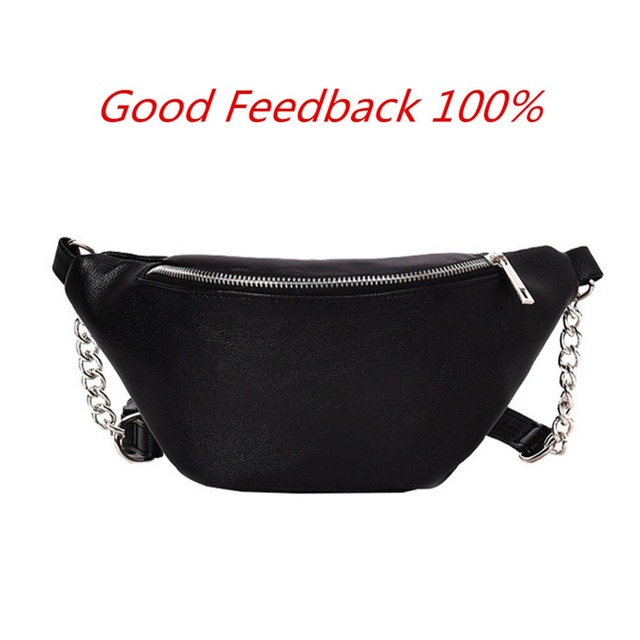 Women leather Waist Belt Bag Fanny Pack Purse Chest Purse Pouch Casual Travel Women'S Waist Bag Black White Chain Bum Bag
