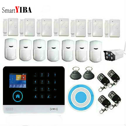 SmartYIBA Wireless GSM&WIFI Smart Home Security Alarm Systems Kits Infrared Motion Sensor Door Alert with APP Control