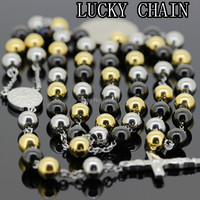 Hot Sale New Men S Stainless Steel Silver Black Gold Plated Rosary Lucky Chain Necklace Women