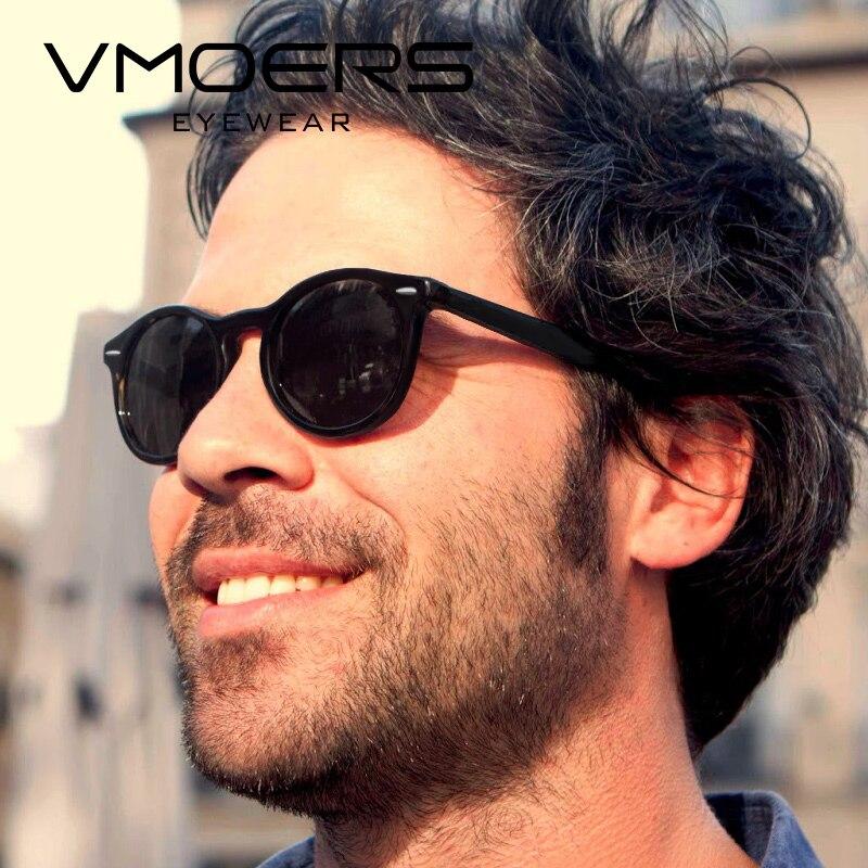 Vmoers Male Vintage Round Sunglasses For Men Polarized Hd Uv400 Black Matte Plastic Round Rivet Sun Glasses For Men Polaroid New