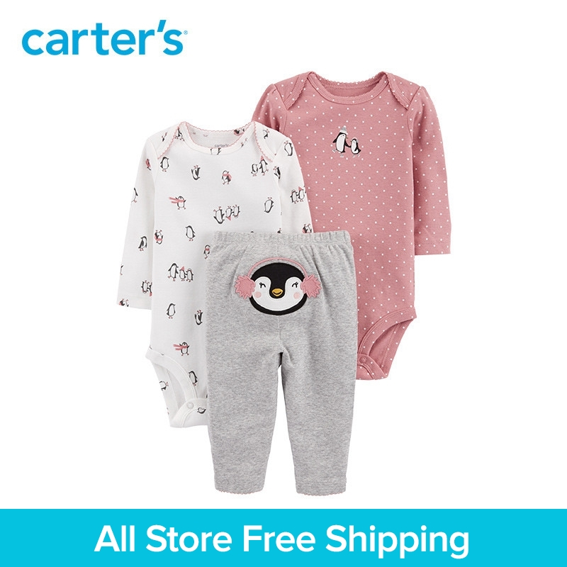 3pcs babysoft cotton penguin print Polka Dot clothing Set Carter's baby boy spring autumn clothing 126H774 fashion baby girl t shirt set cotton heart print shirt hole denim cropped trousers casual polka dot children clothing set