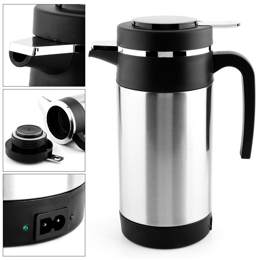 Tasse de chauffage de véhicule 1000 ML en acier inoxydable voiture bouilloire électrique café thé Thermos tasse de chauffage de l'eau 12 V araba aksesuar