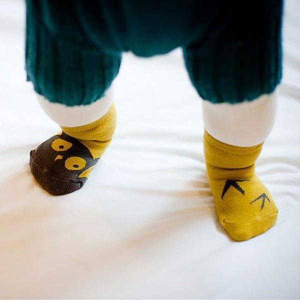 Unisex Baby Kids Socks Cute Cartoon Owl Asymmetric Pattern Boys Girls Soft Cotton Sock