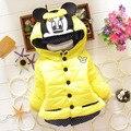 BibiCola crianças Minnie mouse outerwear casacos de inverno Com Capuz Jaqueta Crianças Casaco de inverno Meninas do bebê snowsuit Parkas Para Baixo