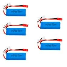 Литий-полимерная батарея 2S 7,4 в 450 мАч для WLtoys K969 K989 K999 P929 P939 RC Car 7,4 в 450 мАч 601844 20C аккумулятор 5 шт./4 шт./3 шт./2 шт./лот